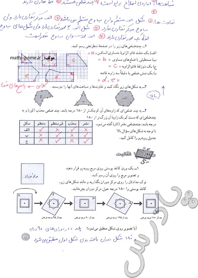 حل فعالیت صفحه 31 ریاضی هشتم