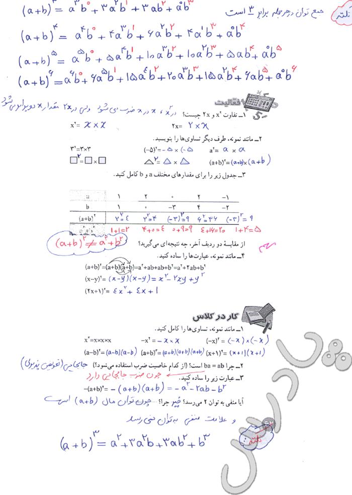 جواب فعالیت و کار در کلاس صفحه 62 ریاضی هشتم