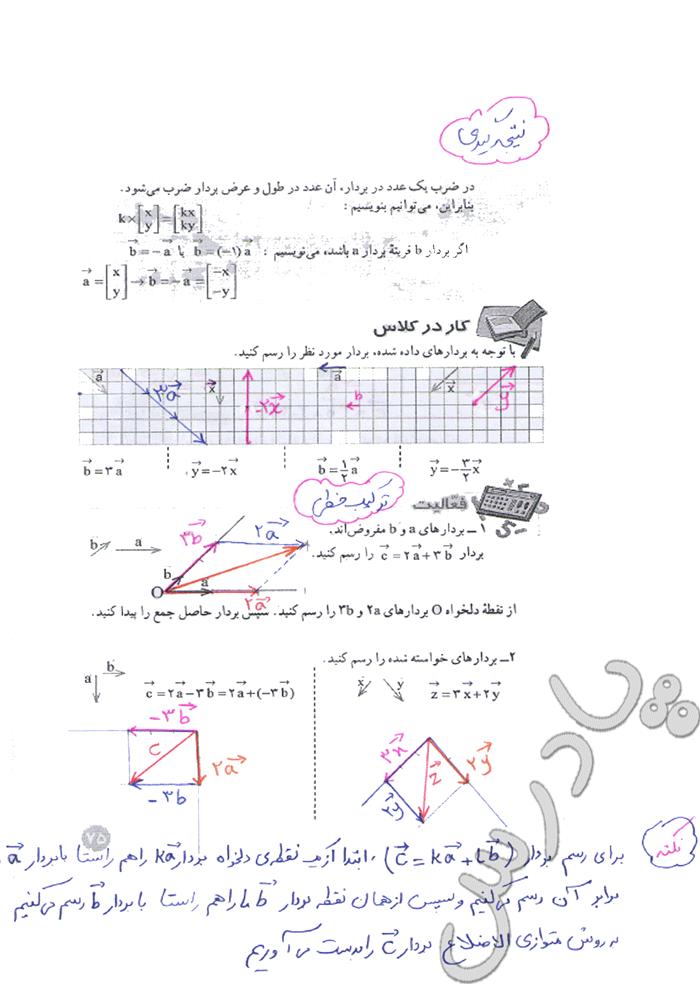 حل کار در کلاس و فعالیت صفحه 75 ریاضی هشتم