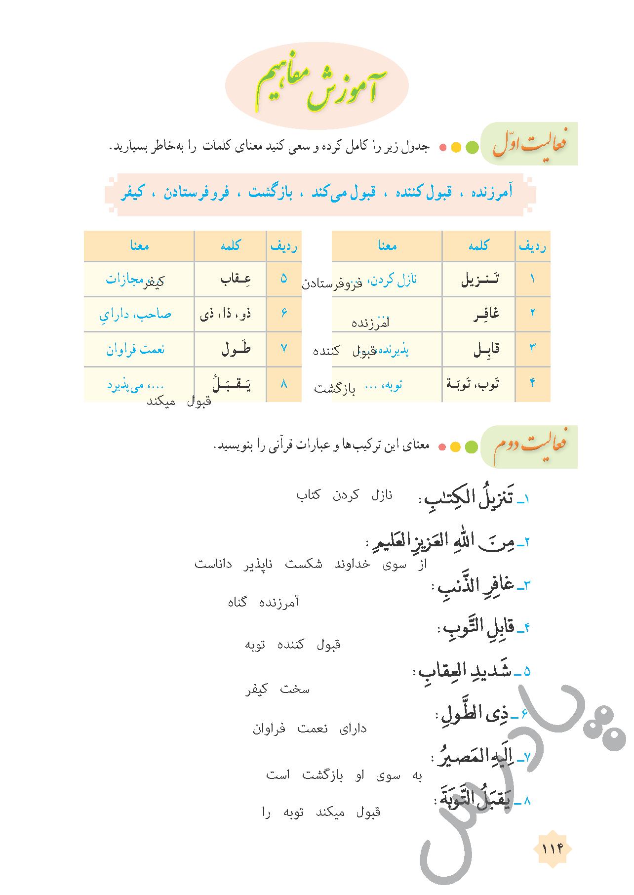 پاسخ فعالیت های درس 12 قرآن هشتم - جلسه اول