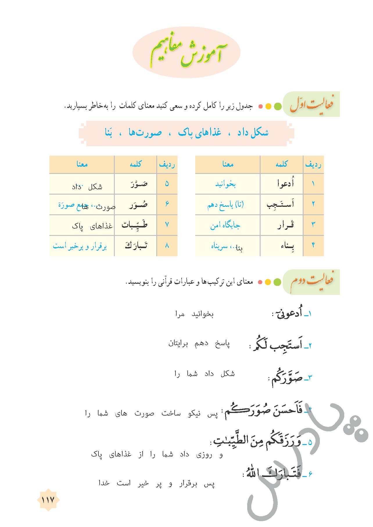پاسخ فعالیت های درس 12 قرآن هشتم - جلسه دوم