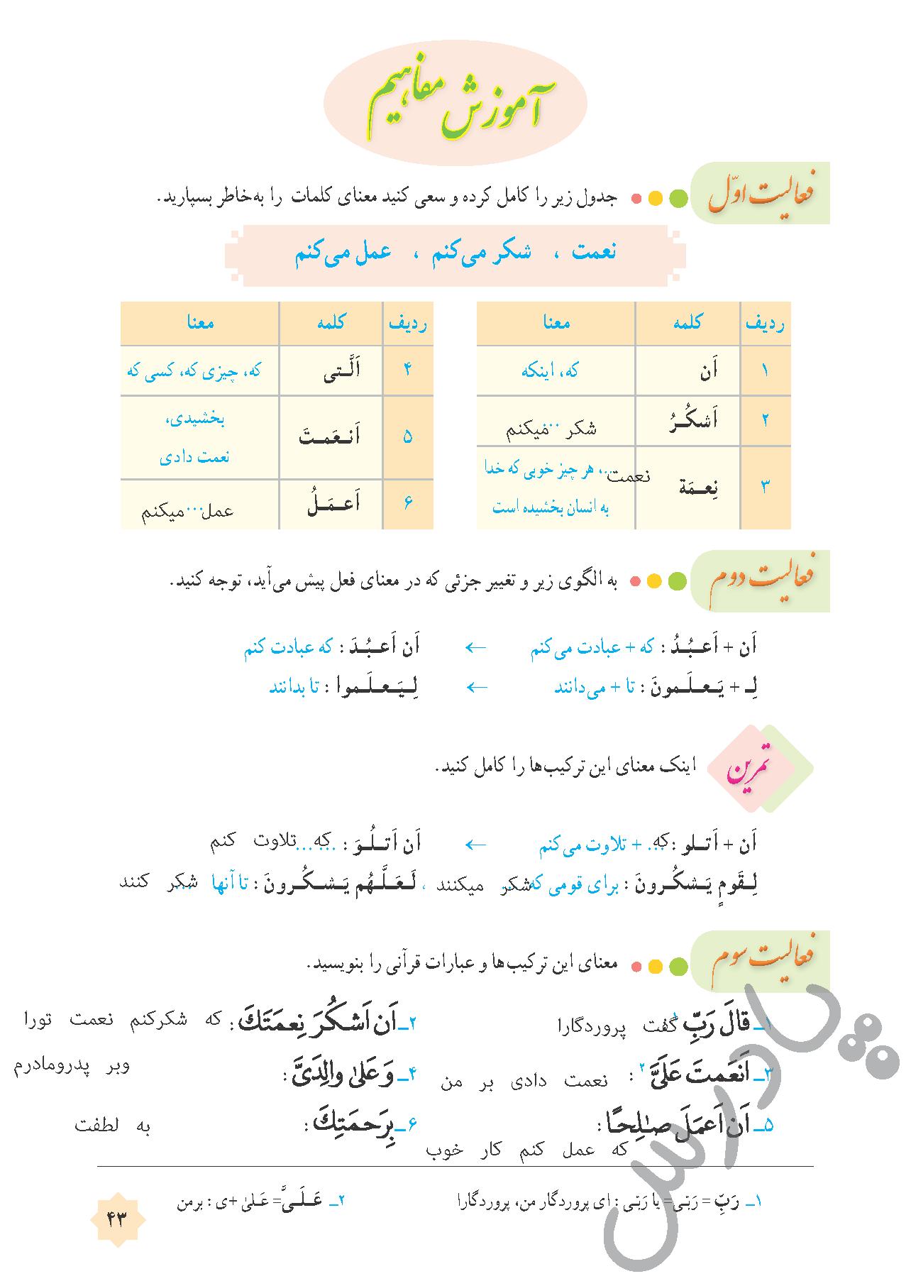 جواب فعالیت درس 4 قرآن هشتم - جلسه اول