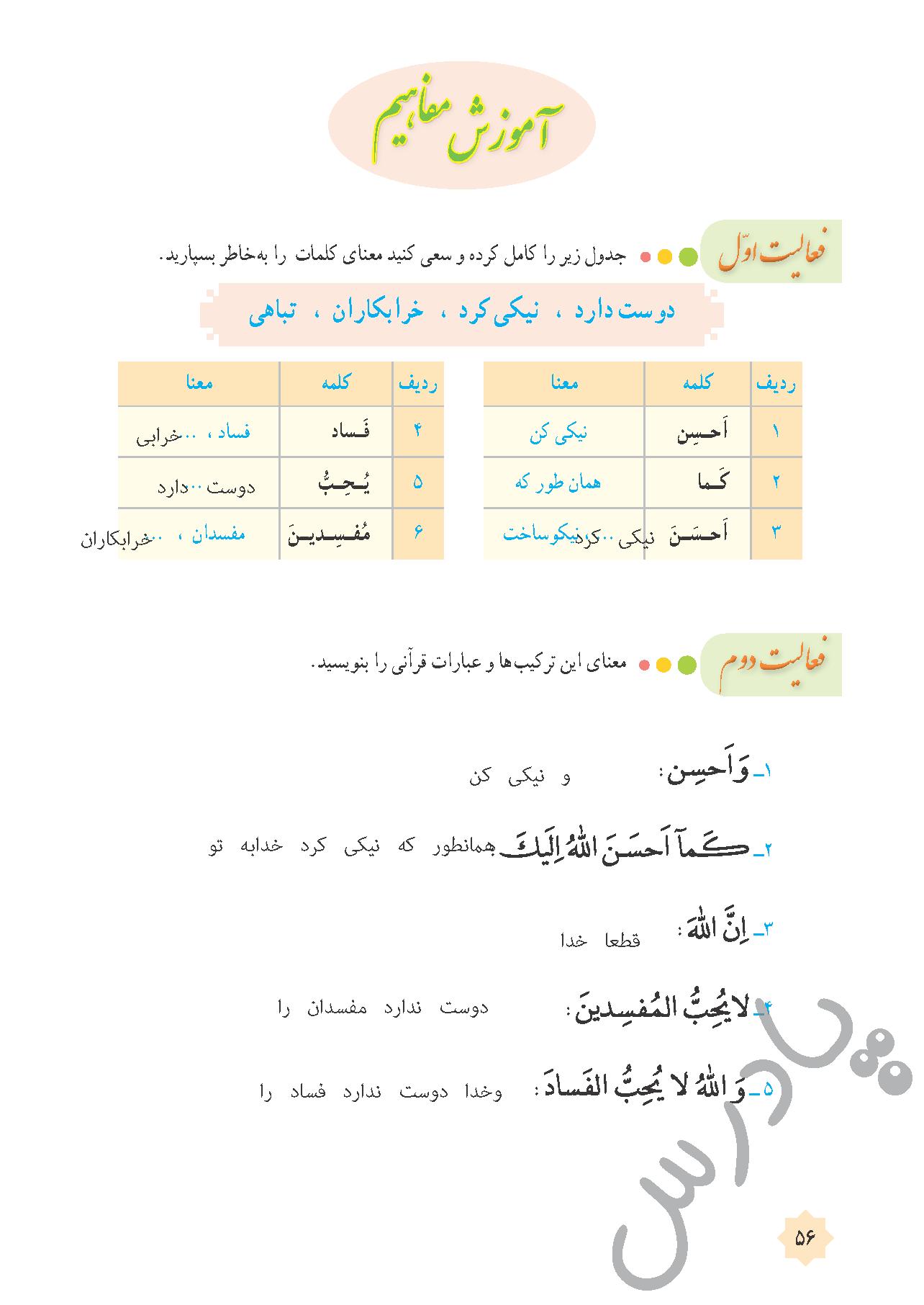 پاسخ فعالیت های درس 5 قرآن هشتم -جلسه دوم