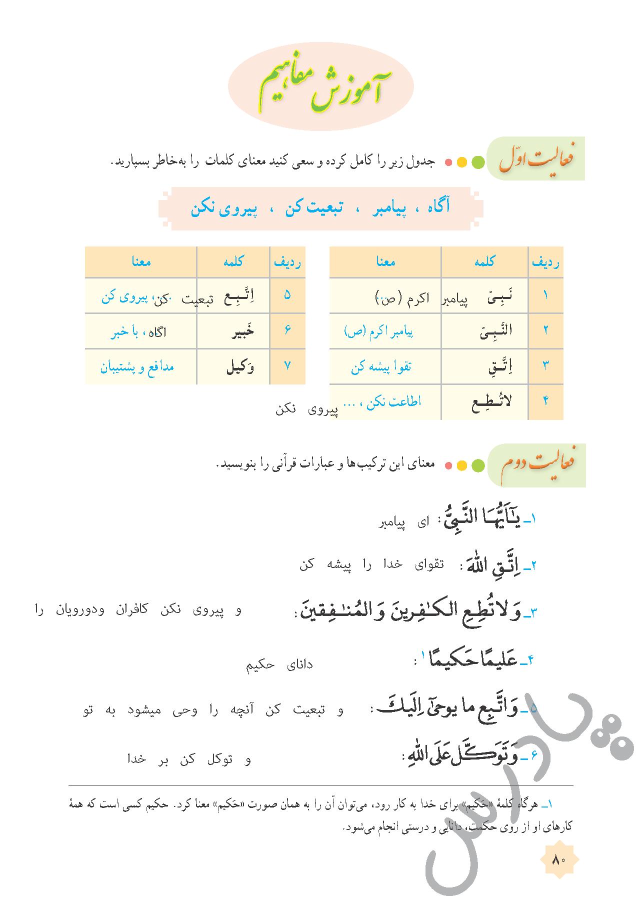 پاسخ فعالیت های درس 8 قرآن هشتم - جلسه اول
