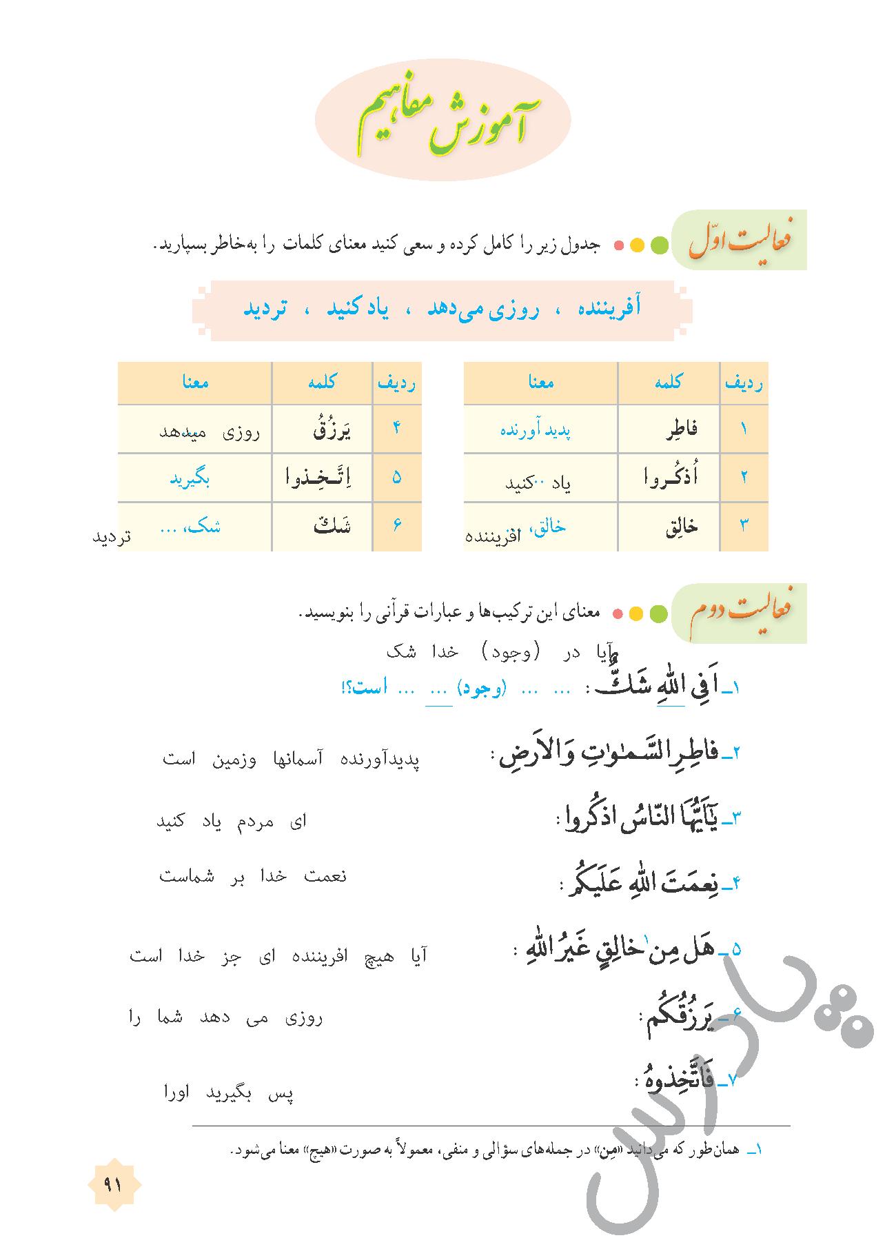 جواب فعالیت های درس 9 قرآن هشتم -جلسه دوم