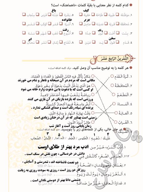 پاسخ تمرینهای صفحه 12 درس اول عربی نهم