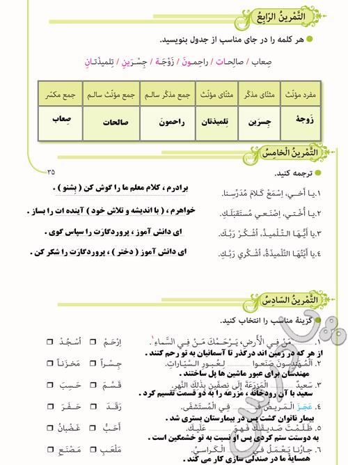 پاسخ تمرین های 4 تا 6 درس سوم عربی نهم