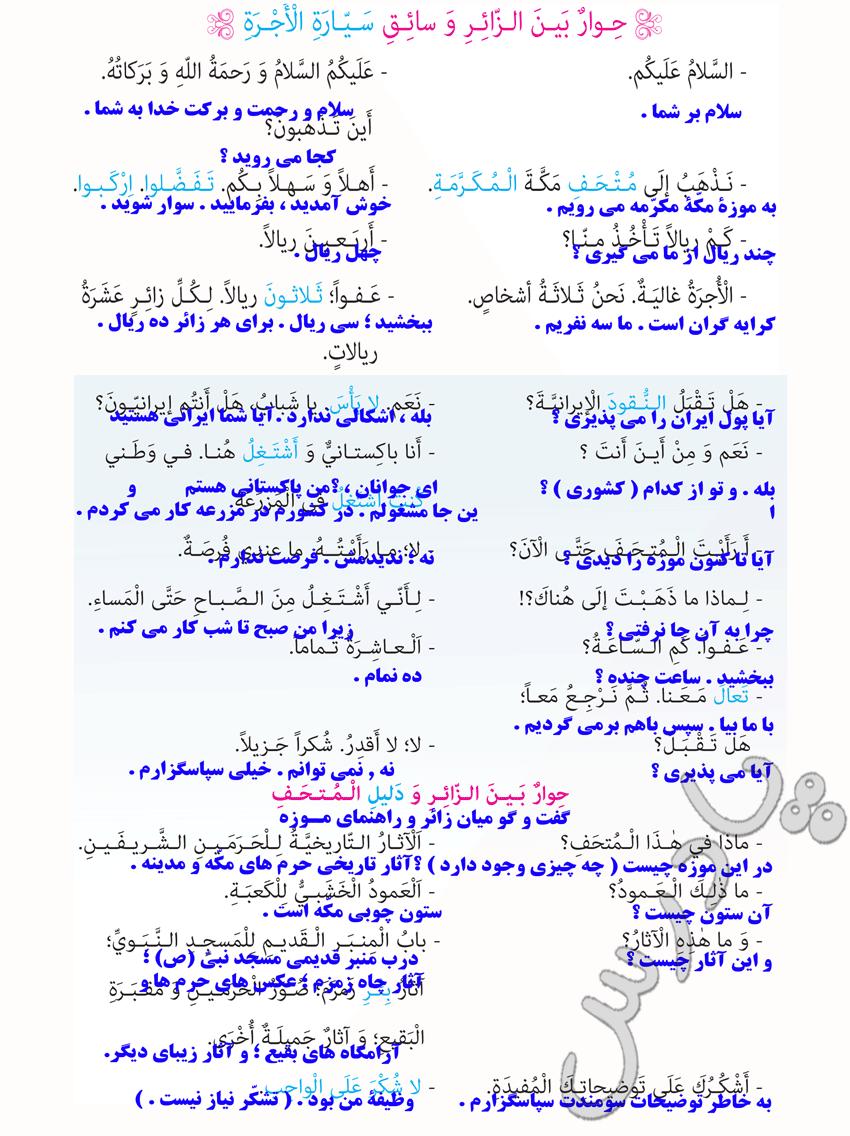 ترجمه درس 8عربی نهم