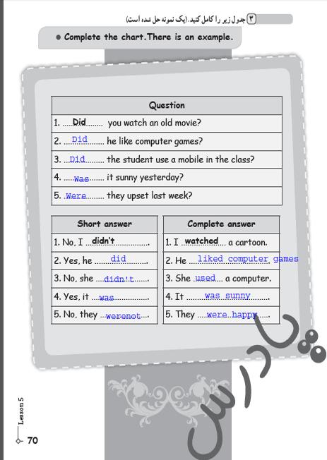 حل تمرین 3 درس5 کتاب کار زبان نهم