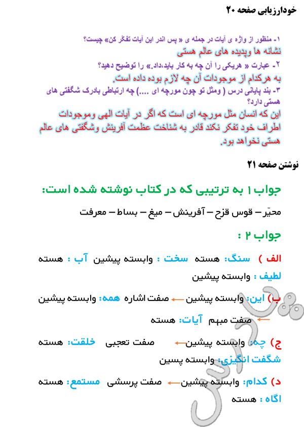 پاسخ خودارزیابی ونوشتن درس 2 فارسی نهم