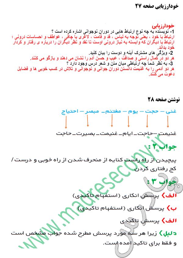 پاسخ خودارزیابی ونوشتن درس 3 فارسی نهم