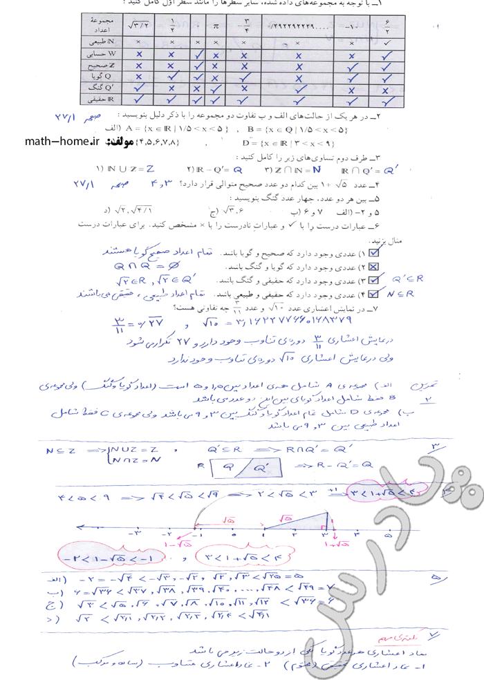 حل تمرین صفحه 27 فصل دوم ریاضی نهم
