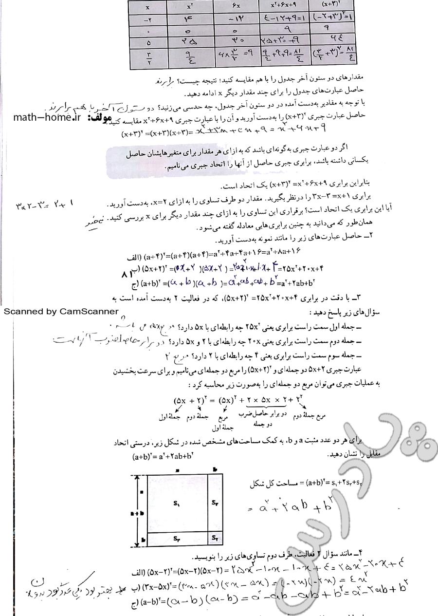 حل فعالیت صفحه 81 ریاضی نهم
