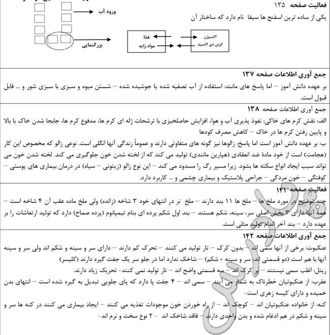 پاسخ سوالات فصل 13 علوم نهم