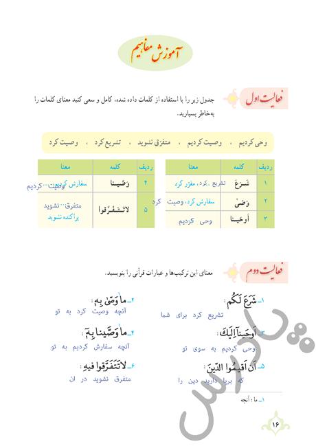 پاسخ فعالیت اول درس 1 قرآن نهم - جلسه اول