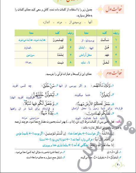پاسخ فعالیت درس 1 قرآن نهم - بخش دوم