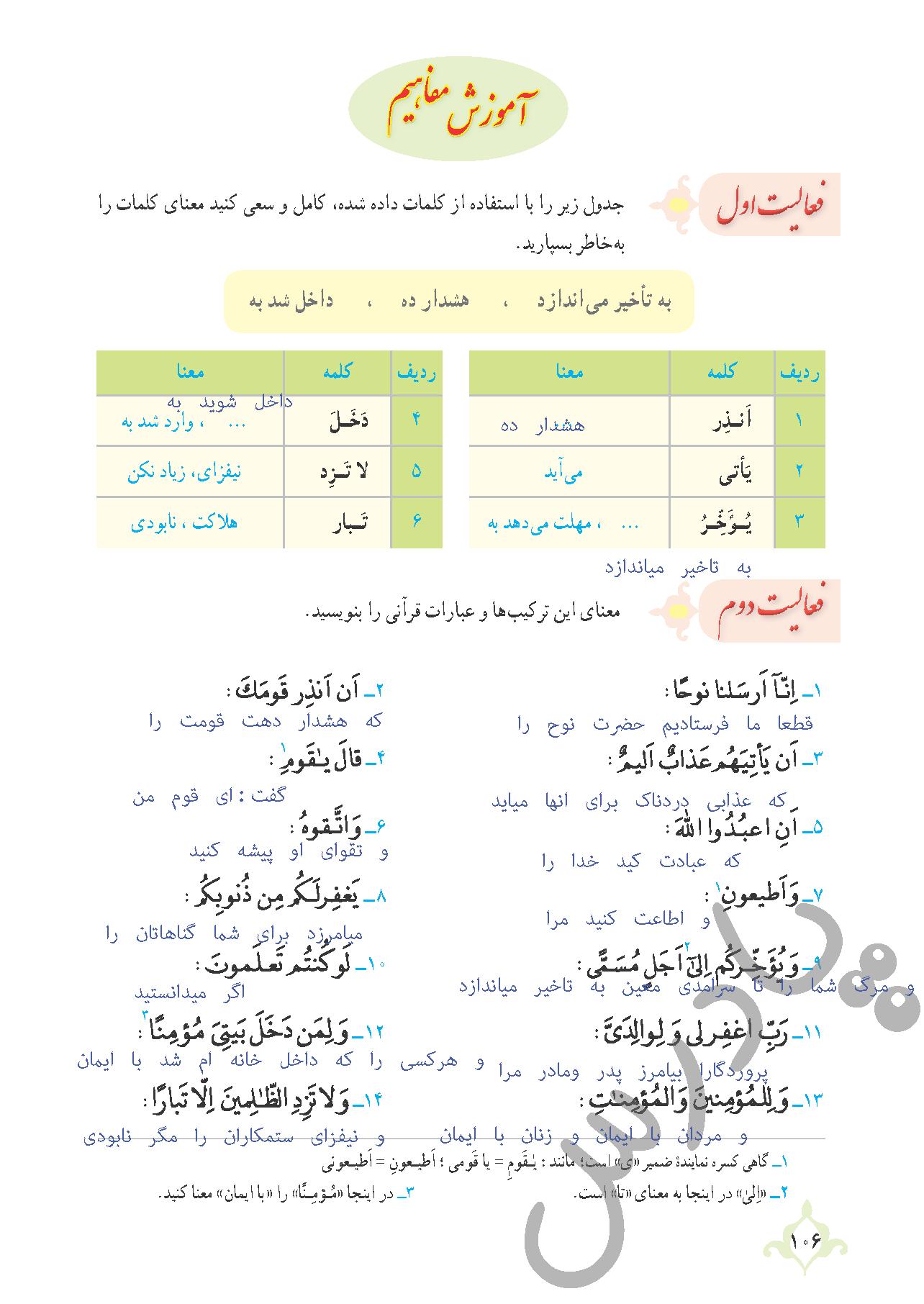 پاسخ فعالیت درس10 قرآن نهم بخش اول