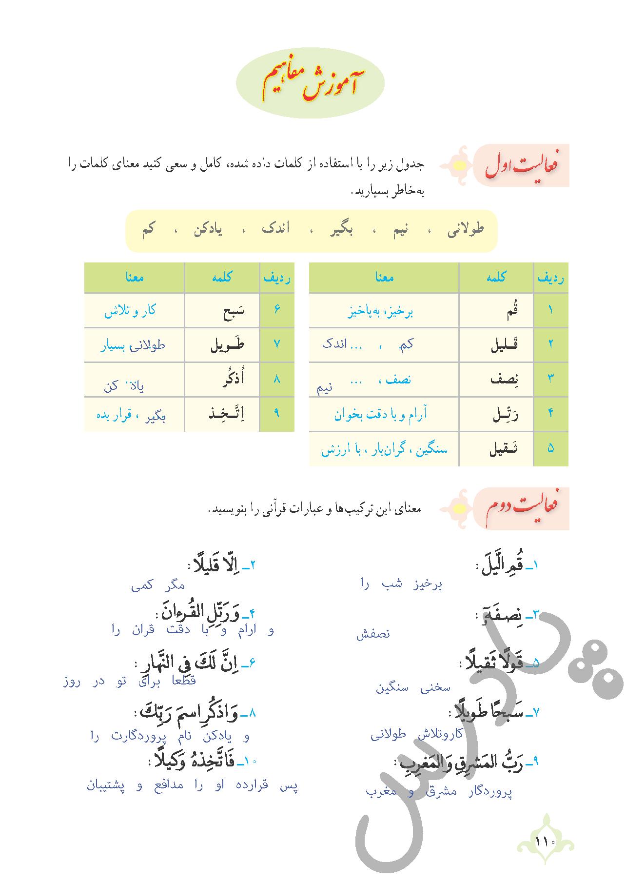 پاسخ فعالیت های درس 10 قرآن نهم بخش دوم