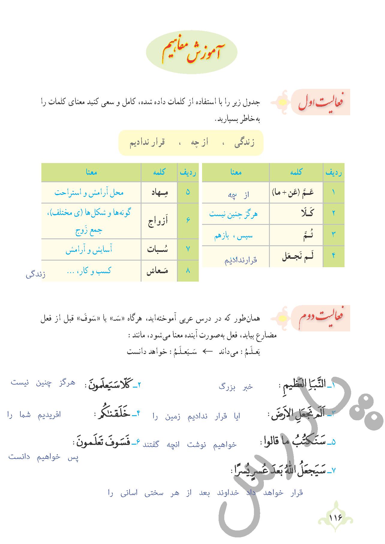 پاسخ فعالیت درس11 قرآن نهم بخش اول