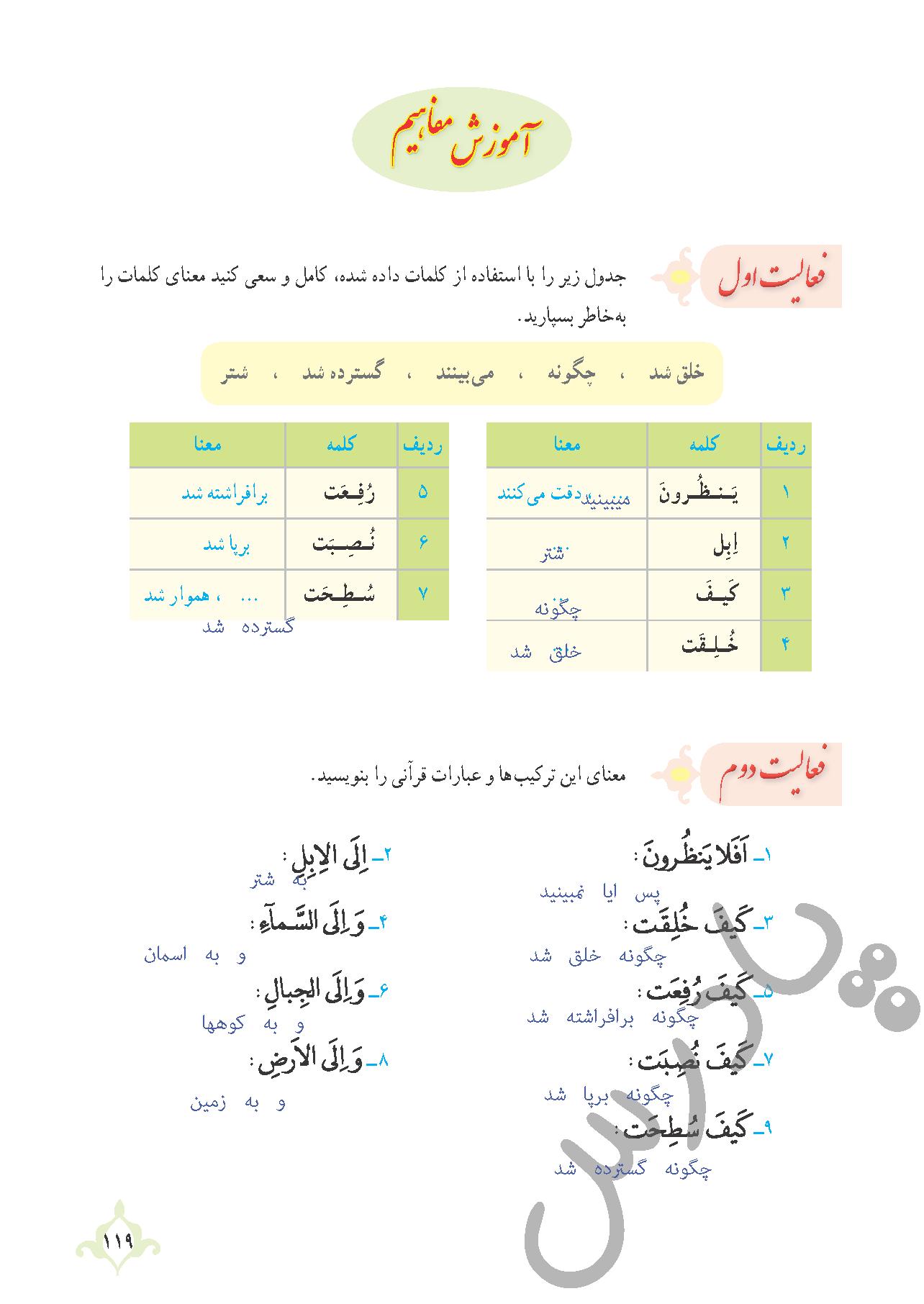 پاسخ فعالیت های درس11 قرآن نهم بخش اول