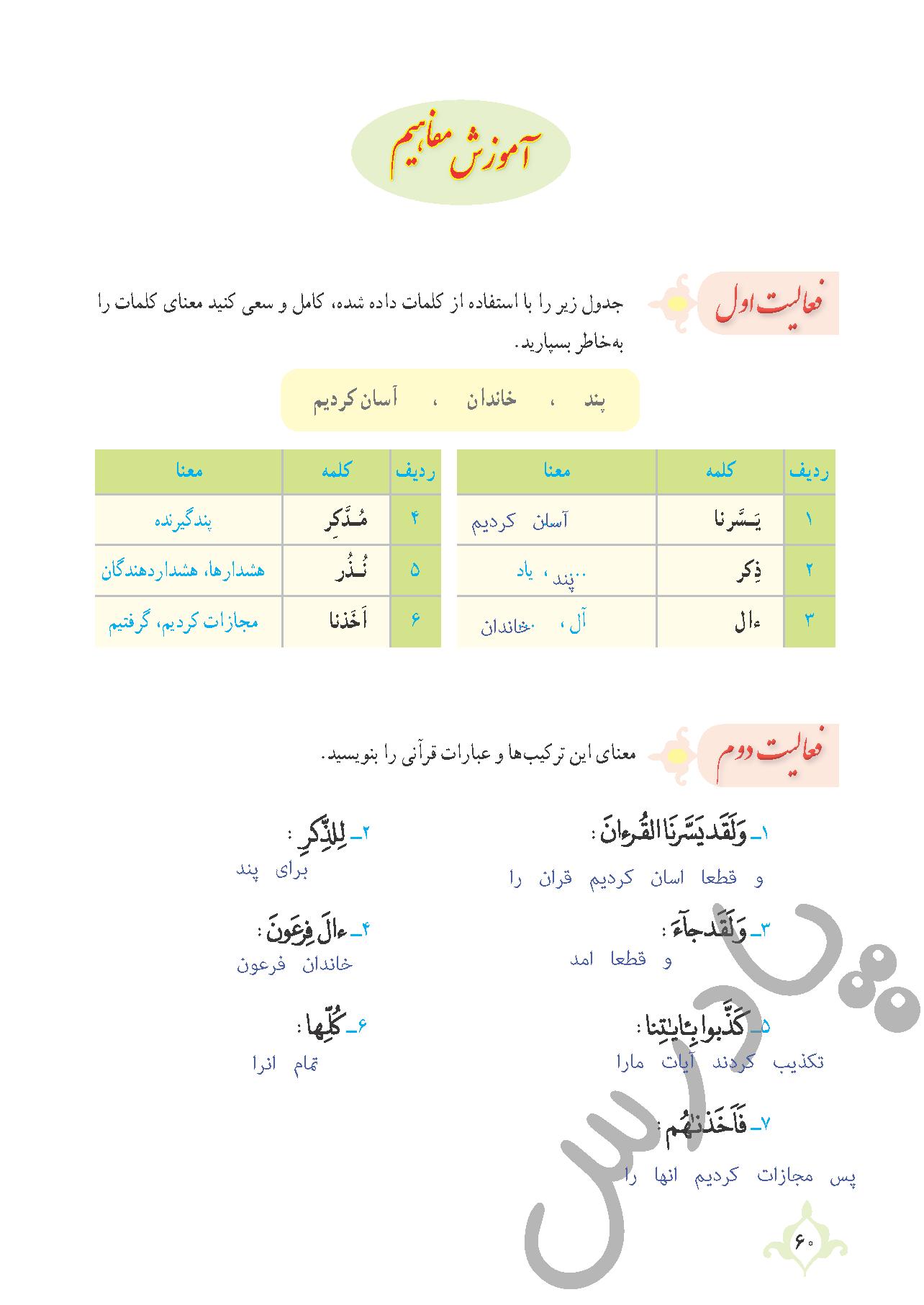 پاسخ فعالیت درس 5 قرآن نهم - جلسه دوم