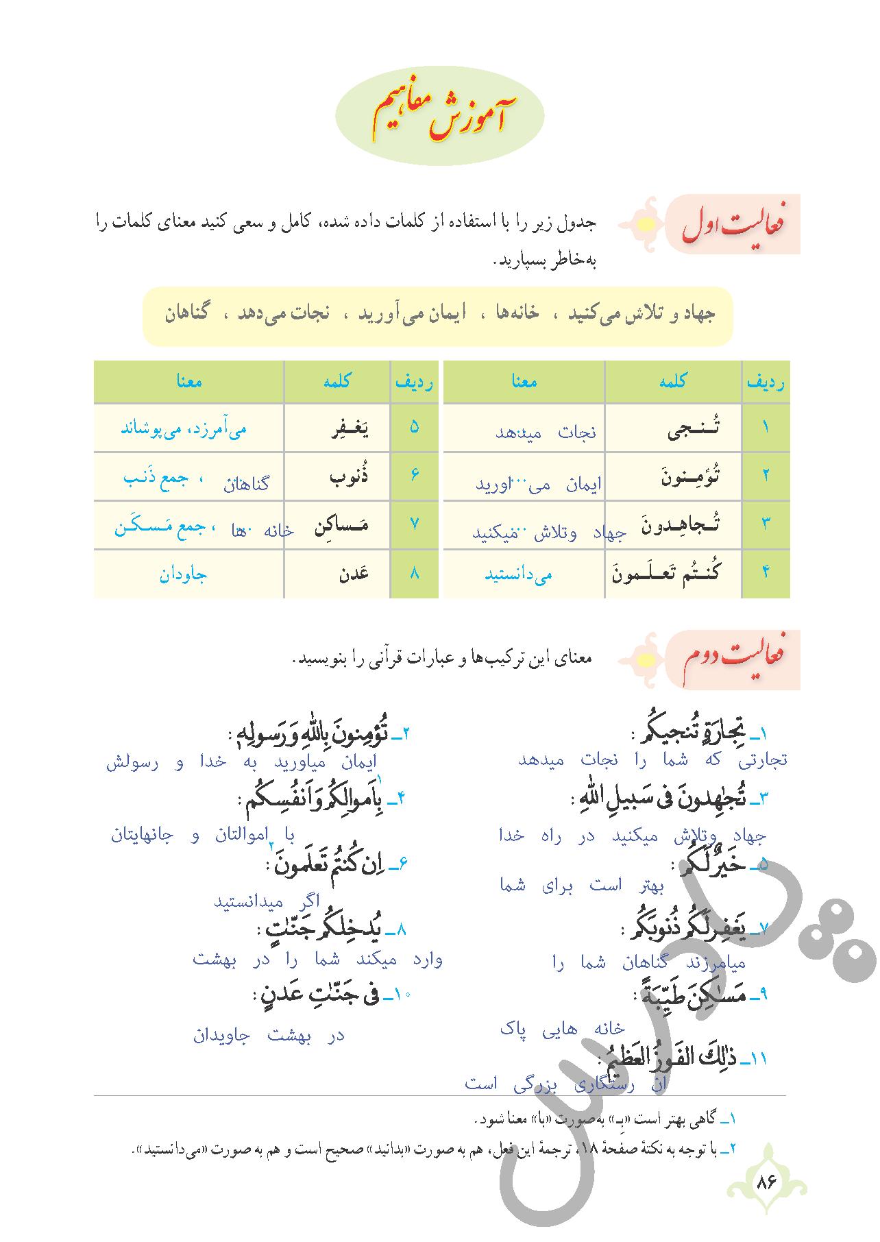 پاسخ فعالیت درس8 قرآن نهم - بخش اول