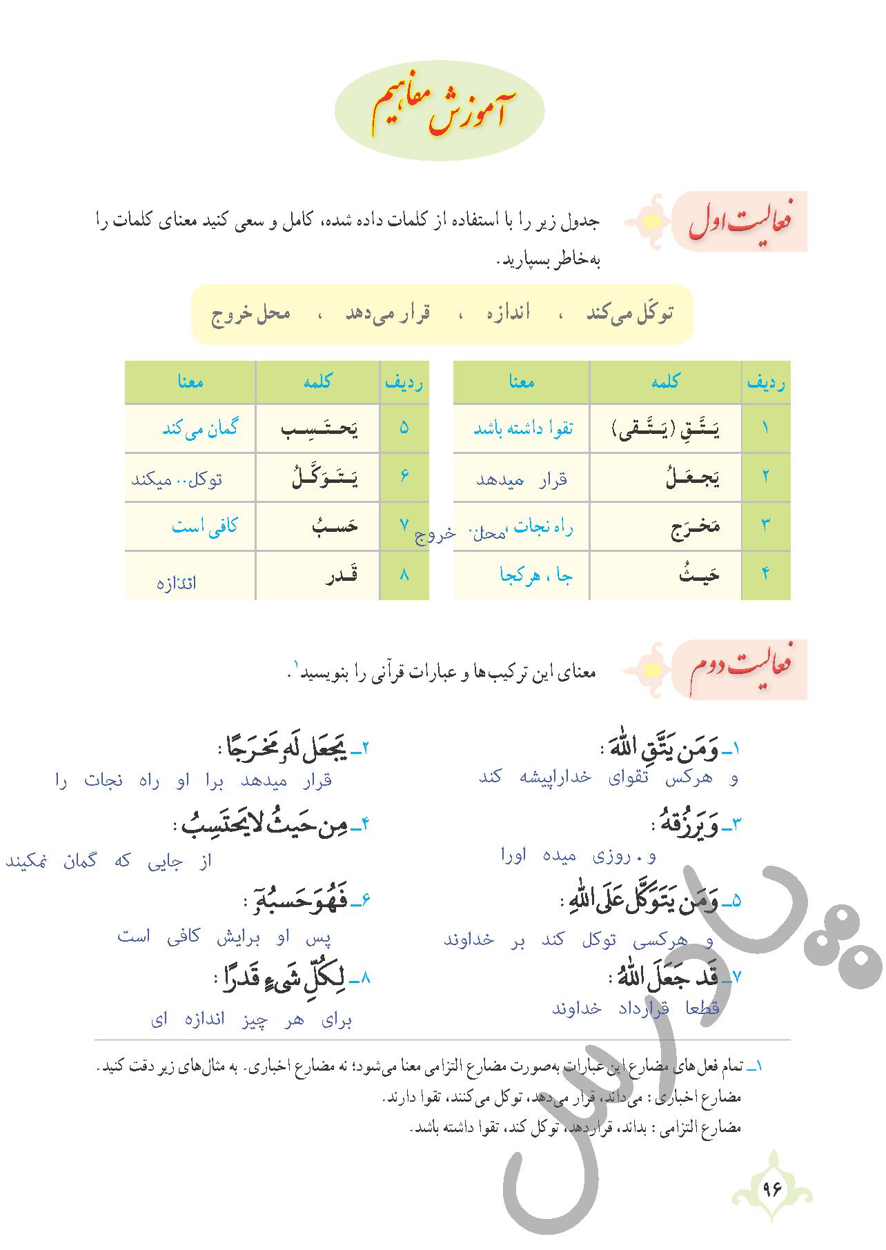 پاسخ فعالیت درس9 قرآن نهم - بخش اول