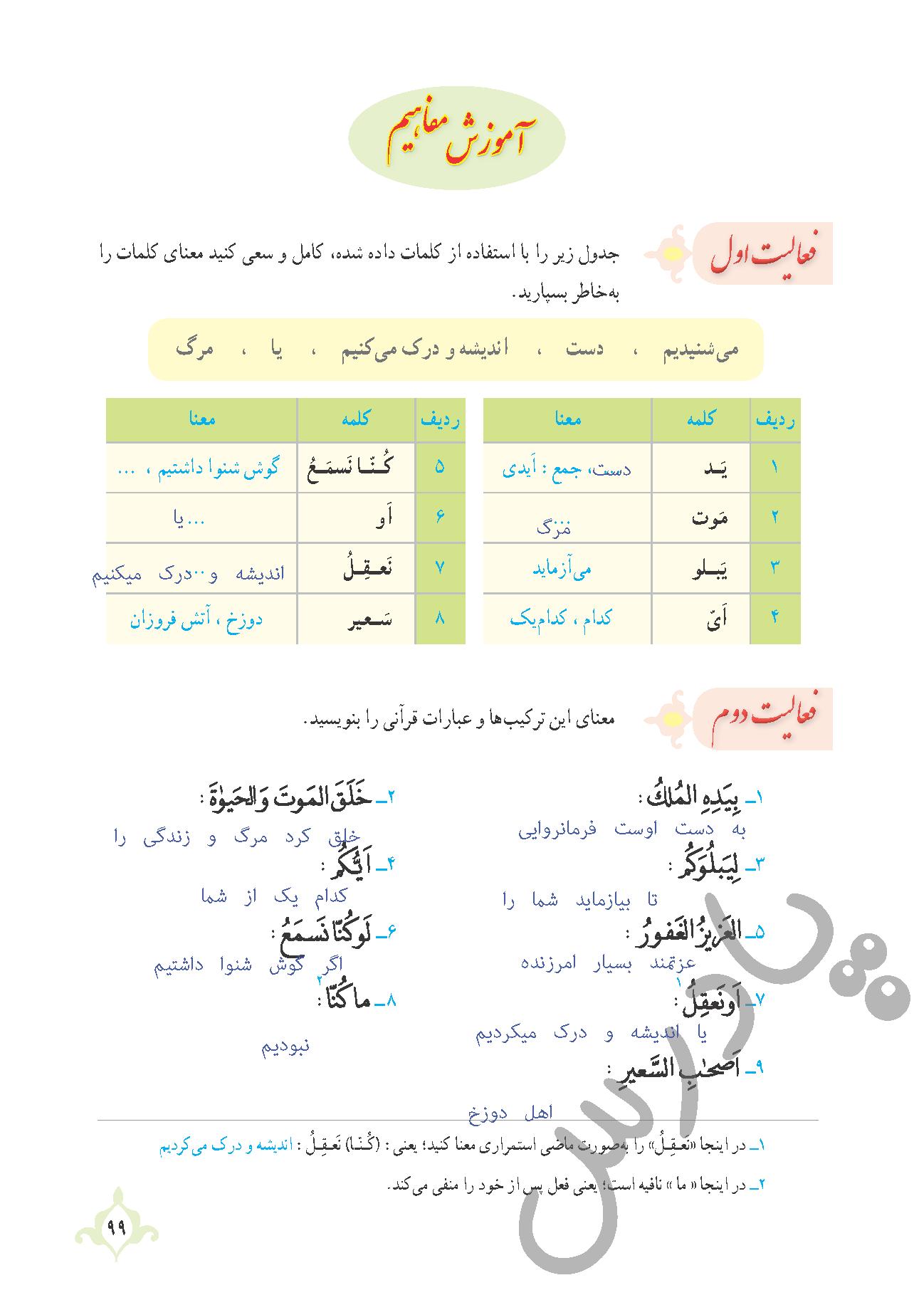 پاسخ فعالیت درس9 قرآن نهم بخش دوم