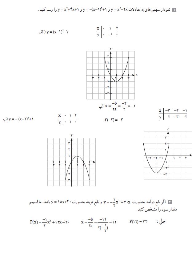 حل تمرین صفحه 70 ریاضی و آمار دهم