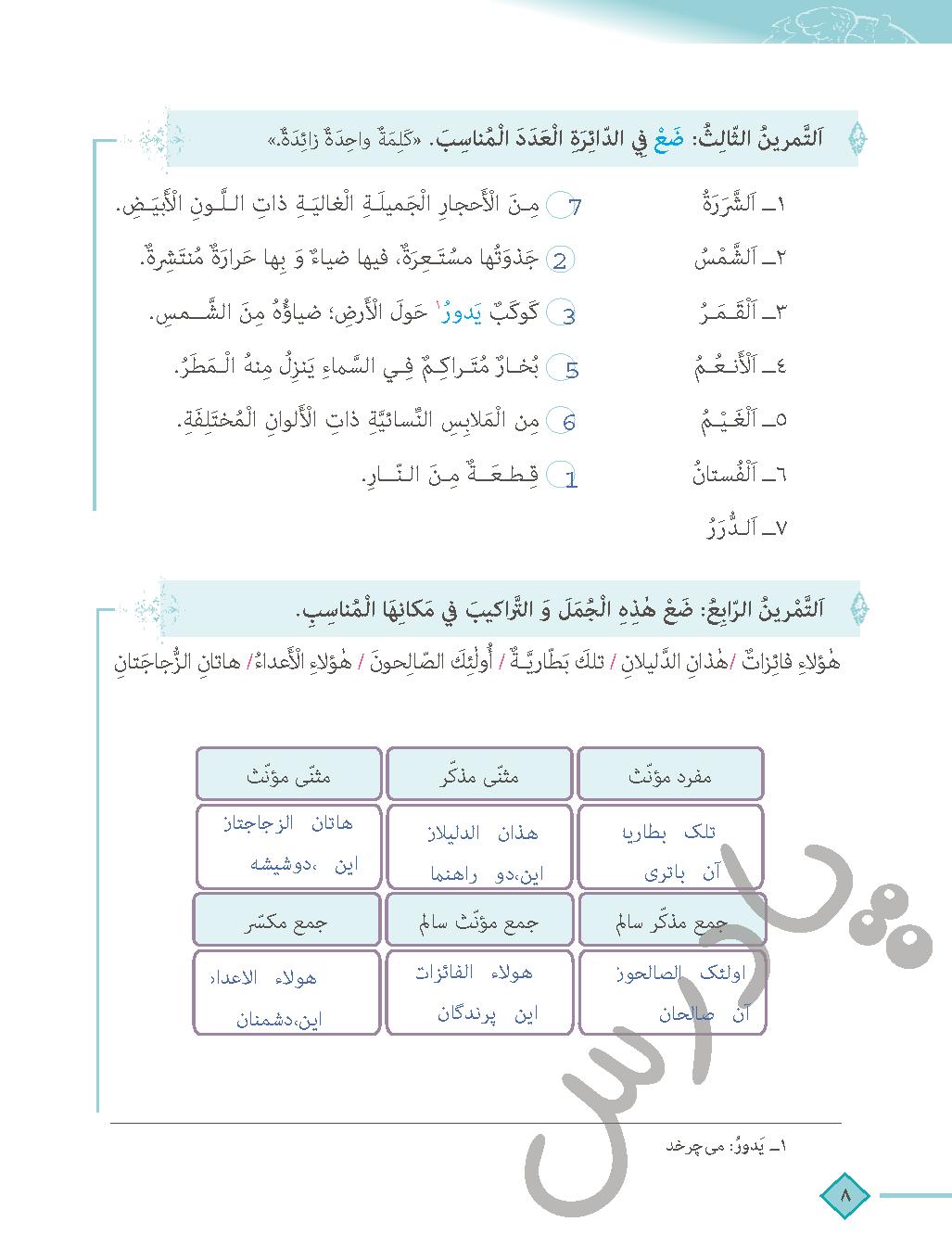 حل تمرین 3و4 درس اول عربی دهم انسانی