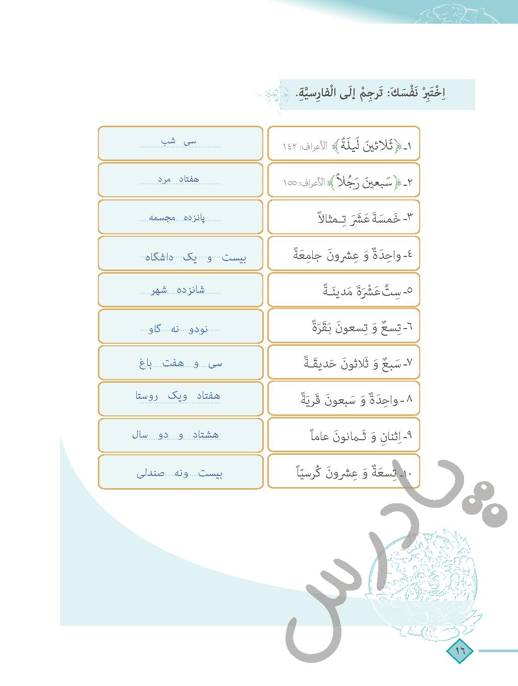 حل اختبر نفسک درس دوم عربی دهم انسانی