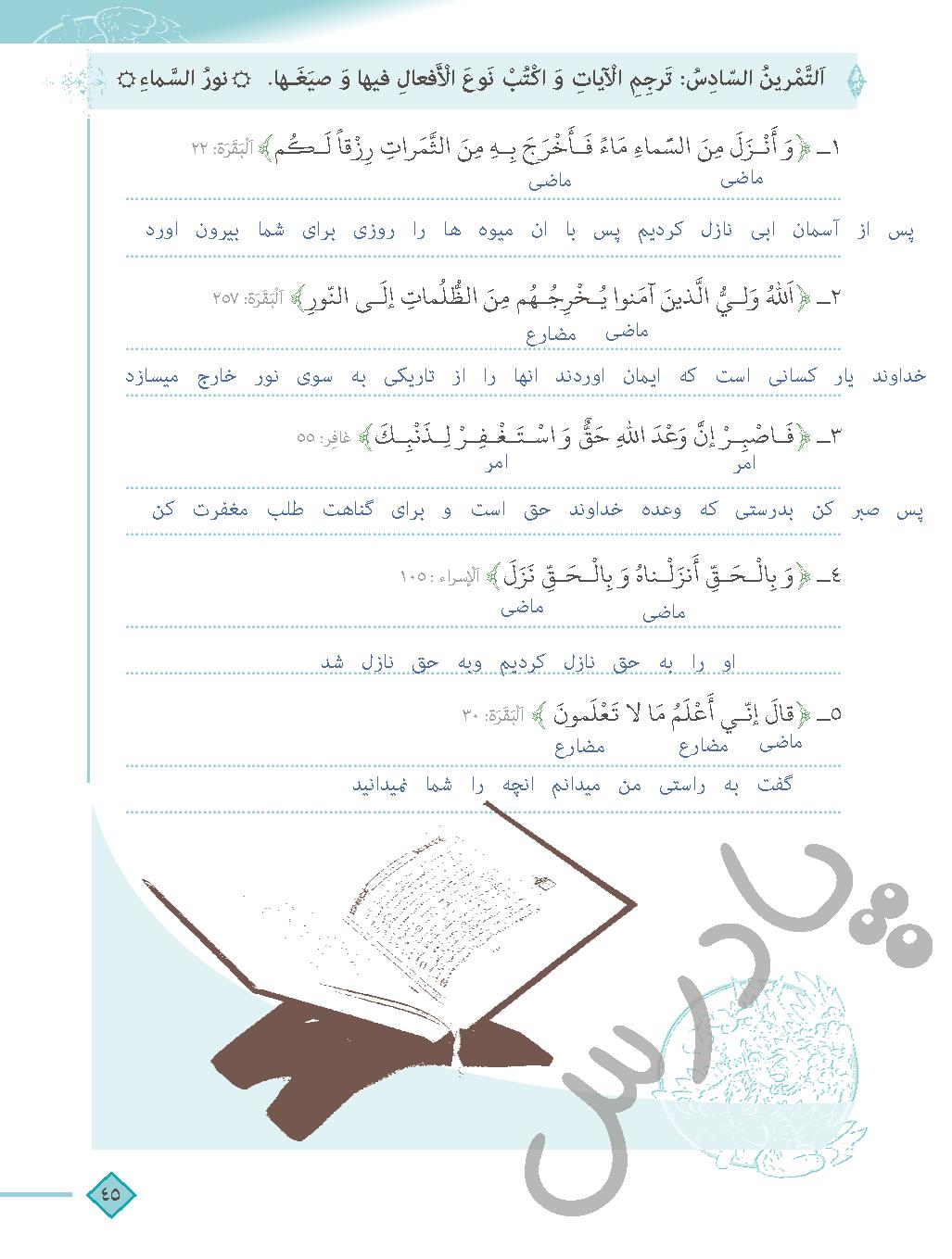 حل تمرین 6 درس چهار عربی دهم انسانی