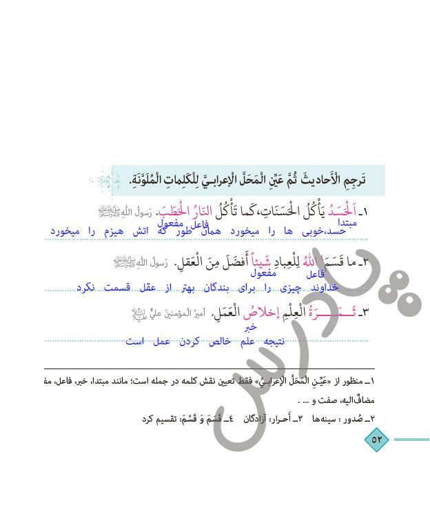 حل اختبرنفسک درس 5 عربی دهم انسانی