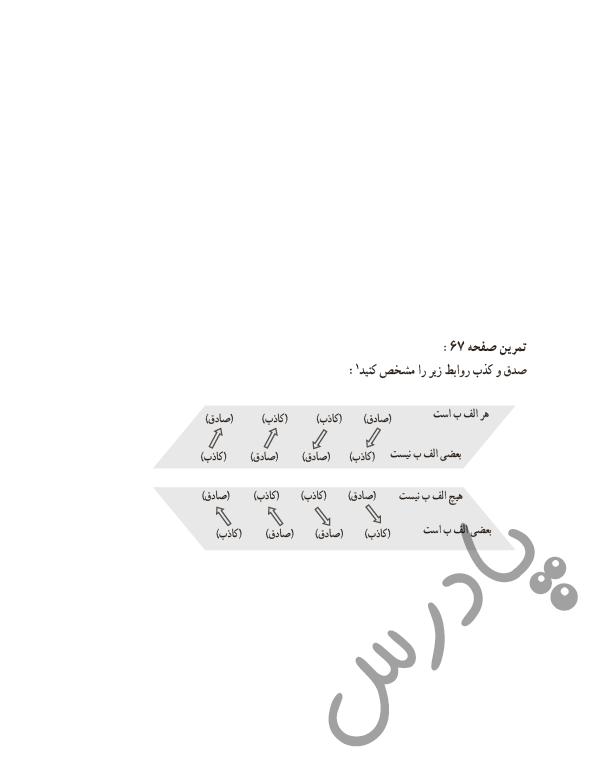 حل تمرین درس 7 منطق دهم - صفحه67