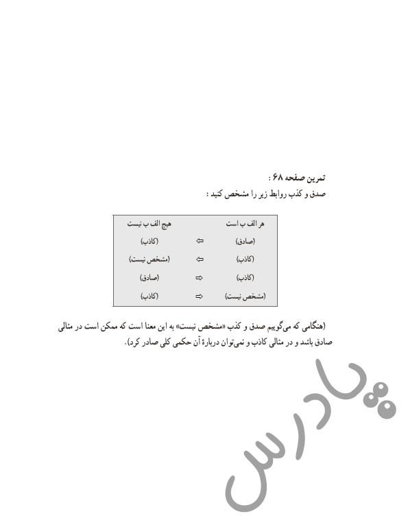 حل تمرین درس7 منطق دهم - صفحه 68