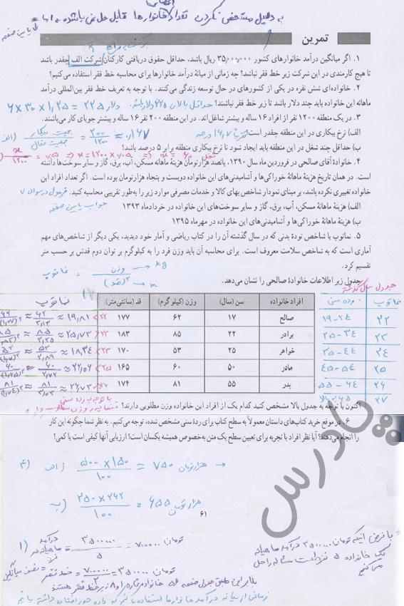 حل تمرین صفحه 61 ریاضی یازدهم انسانی