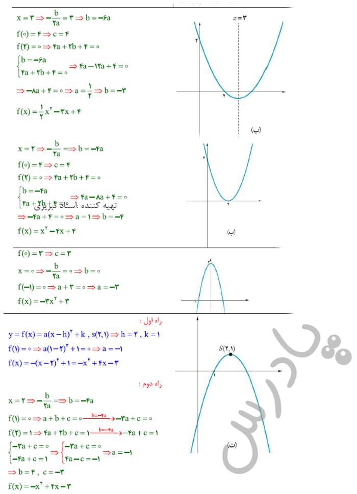 ادامه حل تمرین صفحه 18 ریاضی یازدهم
