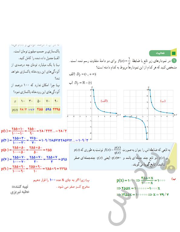 پاسخ فعالیت صفحه49 فصل3 ریاضی یازدهم