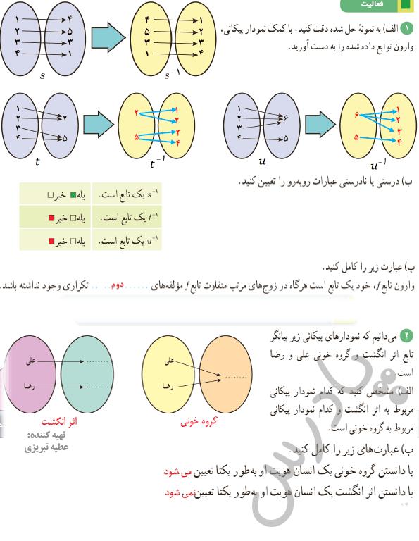 پاسخ فعالیت صفحه 59 ریاضی یازدهم تجربی
