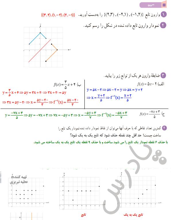 حل تمرین صفحه 63 ریاضی یازدهم تجربی