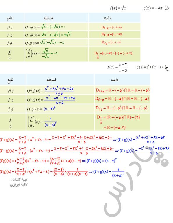 ادامه حل تمرین صفحه69 ریاضی یازدهم تجربی