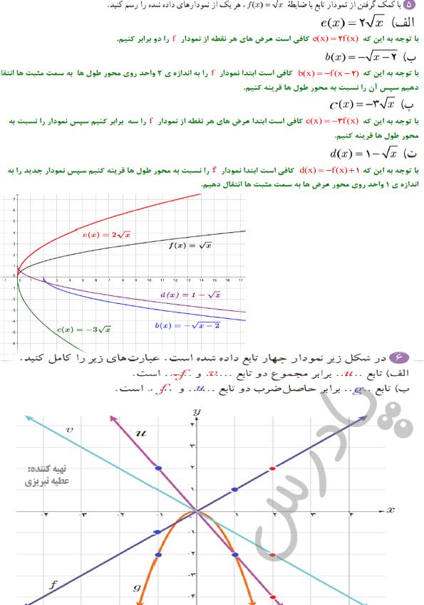 ادامه حل تمرین صفحه 69 ریاضی یازدهم تجربی