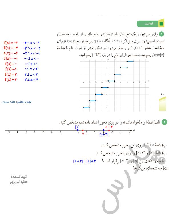 پاسخ فعالیت صفحه 55 ریاضی یازدهم