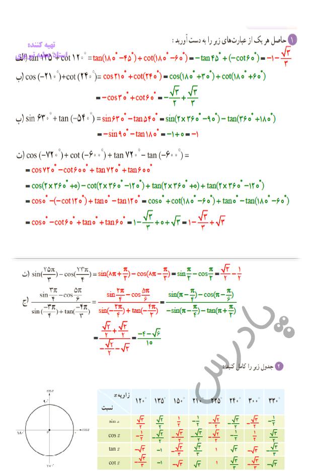 حل تمرین صفحه 87  ریاضی یازدهم