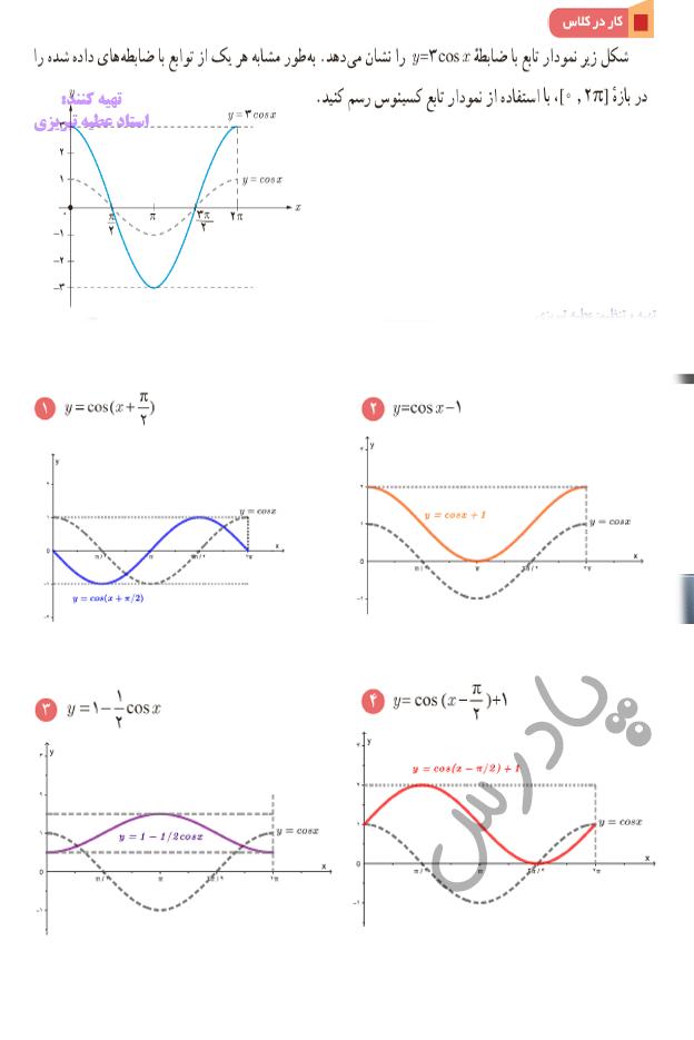جواب کاردرکلاس صفحه 93 فصل 4 ریاضی یازدهم