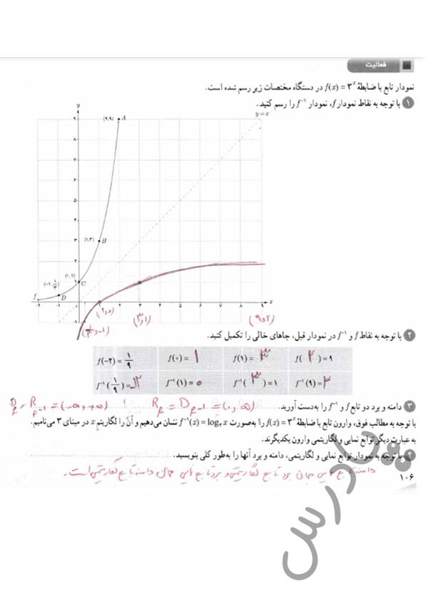 پاسخ فعالیت صفحه 106 ریاضی یازدهم