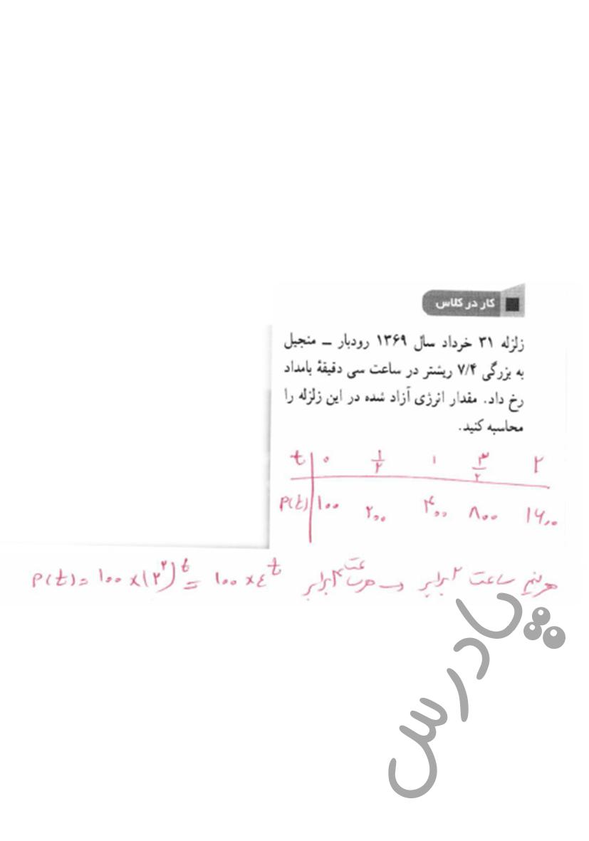 جواب کاردرکلاس صفحه 116 ریاضی یازدهم