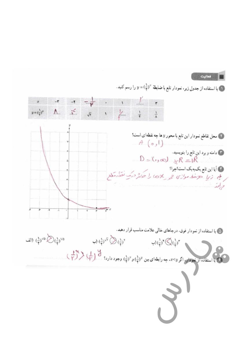 پاسخ فعالیت صفحه 101 ریاضی یازدهم