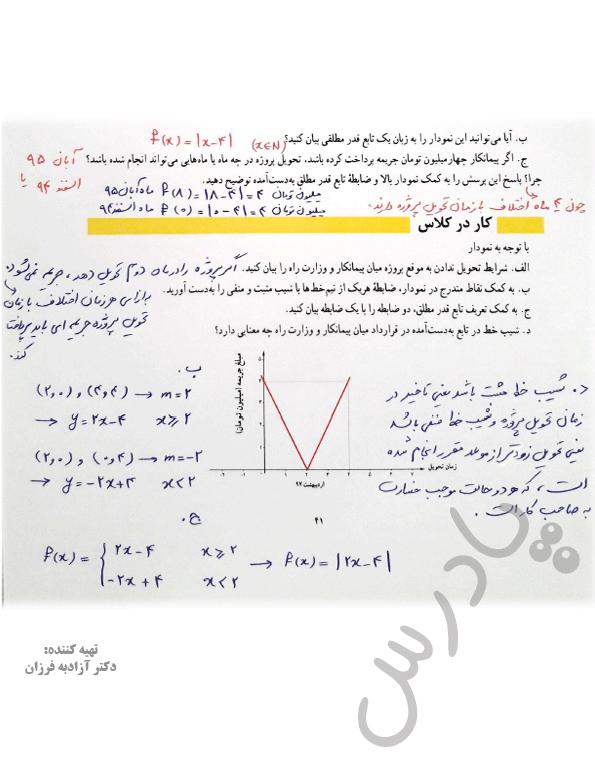جواب کاردرکلاس صفحه 41 فصل2 ریاضی یازدهم انسانی