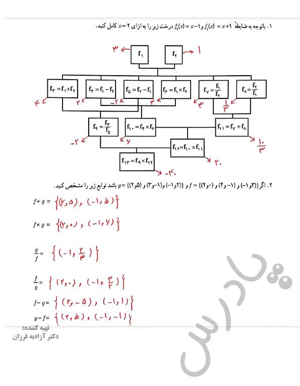 جواب کاردرکلاس صفحه 50 فصل دوم ریاضی یازدهم انسانی